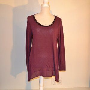 simply vera maroon blouse